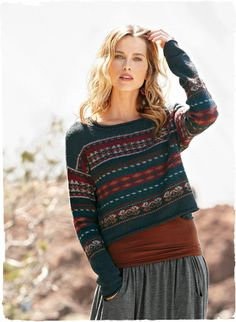 56b450e4b Our cropped pullover is banded in Fair Isle stripes of cranberry