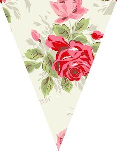 Banderines, banners o bunting como los llamen Uds. Floral Printables, Party Printables, Free Printables, Bunting Template, Eid Stickers, Diy And Crafts, Paper Crafts, Floral Banners, Bunting Banner