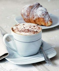 Enjoying a cup of cappuccino with a delicious, warm croissant - perfect breakfast. But First Coffee, I Love Coffee, Coffee Break, My Coffee, Morning Coffee, Morning Breakfast, Breakfast Healthy, Health Breakfast, Sunday Morning