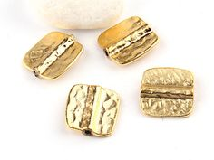 Hammered Square Bead Sliders 22K Gold Plated by ShiShisBoutique