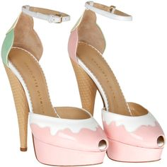Charlotte Olympia Pink & White Leather 'Ice Cream Candy Floss' Peep... ($1,145) ❤ liked on Polyvore featuring shoes, sandals, heels, pink, pumps, pink high heel shoes, white shoes, white leather shoes, high heel shoes and leather shoes