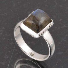 BLUE FIRE LABRADORITE 925 SOLID STERLING SILVER FASHION RING 3.83g DJR6378 #Handmade #Ring