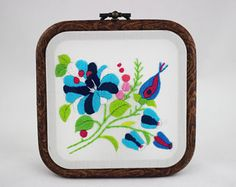 embroidery hoop picture  hoop art  hand embroidered wall hanging flowers blue and pink floral wall decor