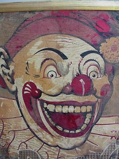 "Tin sign. The iconic clown from Ponchartrain Beach Amusement Park in New Orleans.  Said to be the ""defining scary clown"" on scary clown spectrum, according to research psychologists at Tulane University."