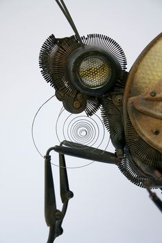 Part of a car, bicycle, umbrella, compass, typewriter, clock, compass, the list of materials that French artist Edouard Martinet uses to construct his...