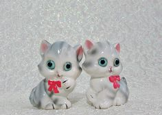 Cat Salt Pepper Shakers Vintage Salt and Pepper Shakers Gray