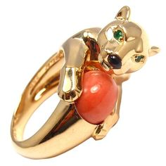1stdibs.com   CARTIER Panther Coral Emerald Onyx Yellow Gold Ring