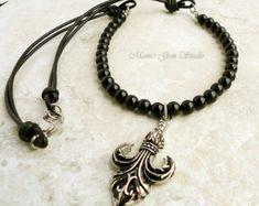 Mens Jewelry - Fleur De Lis Arrowhead Pendant Necklace, Black Onyx and Leather Cord, Mens Necklace
