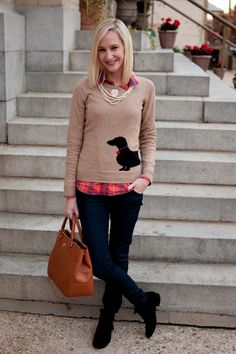 TGIF, Fall-Style: Doxie Sweaters, Flannel   Pearls | Kelly in the City