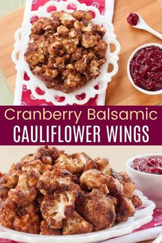 "Glazed in a tangy mix of balsamic vinegar and cranberry sauce, these Baked Cauliflower Bites are sweet, savory, and totally irresistible. An easy appetizer recipe to use up holiday dinner leftovers, or a simple side dish for an autumn meal, you'll be making these veggies on repeat. Even the meat-eaters will love these ""wings""! Baked Cauliflower Bites, Cauliflower Wings, Cauliflower Recipes, Gluten Free Appetizers, Easy Appetizer Recipes, Yummy Appetizers, Kale Chips, Balsamic Vinegar, Balsamic Glaze"