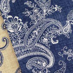 Michael Miller pristine paisley indigo blue white fabric vintage interiors | eBay