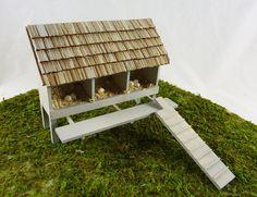 Dollhouse Miniature Artisan Wooden 3 Nest Chicken Coop
