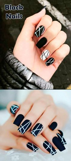 Most Beautiful Black Winter Nails Ideas Such a cute black nails ideas!Such a cute black nails ideas! Cute Acrylic Nail Designs, Black Nail Designs, Colorful Nail Designs, Best Acrylic Nails, Nail Art Designs, Nails Design, Winter Nail Designs, Gelish Nails, My Nails
