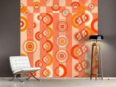 Foto #Tapete Bewegte Retro-Kreise Curtains, Shower, Retro, Prints, Photos, Self Adhesive Wallpaper, Circles, Photo Wallpaper, Wall Papers
