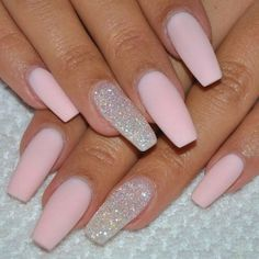 """If you're unfamiliar with nail trends and you hear the words """"coffin nails,"""" what comes to mind? It's not nails with coffins drawn on them. It's long nails with a square tip, and the look has. Matte Pink Nails, Cute Acrylic Nails, Glitter Nail Art, Gel Nails, Acrylic Nail Designs, Coffin Nails, Nail Polish, Baby Pink Nails With Glitter, Sparkle Nails"""
