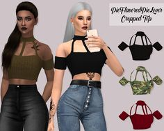 Lumy Sims – Cropped Top for The Sims 4 Sims 4 Teen, Sims Four, Sims 4 Toddler, Sims 4 Mm, Sims 4 Mods Clothes, Sims 4 Clothing, Cropped Tops, Sims 4 Traits, Sims 4 Black Hair