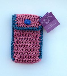 Dark Blue Dark Pink Folding Crochet Mobile Cell by ErgoheiroStudio, $9.8