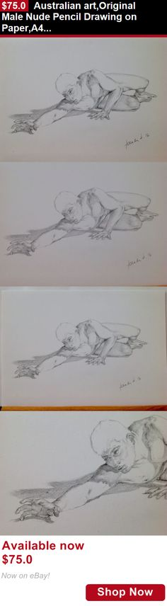 Drawings art: Australian Art,Original Male Nude Pencil Drawing On Paper,A4, Realistic BUY IT NOW ONLY: $75.0