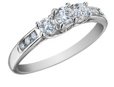 Three Stone Diamond Engagement Ring and Diamond Anniversary Ring 1/2 Carat (ctw) in 10K White Gold (Certified), Size 9
