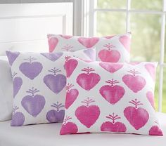 Watercolor Heart Pillows