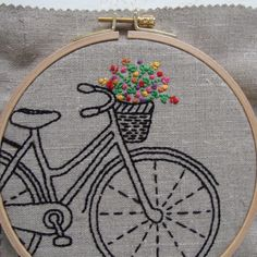 Bicycle embroidery pattern by Sarah for I Heart Stitch Art. Natural linen with pearl cotton thread, based on an original drawing. Inspired by all things vintage!