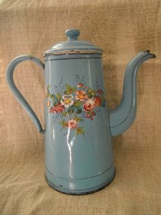 French Vintage Enamelware Coffee Pot Blue by FrenchCountryLiving, $135.00