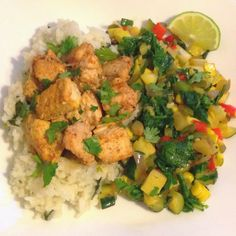 Curry Chicken with Coconut Rice & Veggie Medley