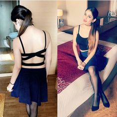 @kanika868 #legs #stockings #backless #gym #lover #lovelife #black #dressup #partyanimal #heels #hairstyle #fitness #workout #oiledup