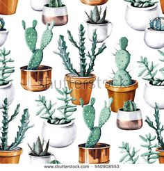 Watercolor Cactus In Pot Tropical Garden Seamless Pattern. Stock Illustration - Illustration of opuntia, green: 87901846 Double Gauze Fabric, Cotton Twill Fabric, Satin Fabric, Cotton Canvas, Watercolor Succulents, Watercolor Cactus, Cactus Pot, Tropical Garden, Photoshop