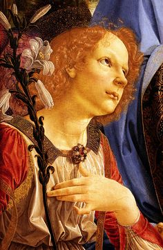Andrea del Verrocchio (and Assistant). Virgin and Child with Angels. 1476-78. detail |