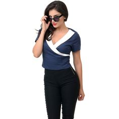 Collectif Navy & White Nautical Faux Wrap Doreen Top ($33) ❤ liked on Polyvore featuring tops, navy blue, nautical tops, faux wrap top, collectif, navy wrap top and navy and white top