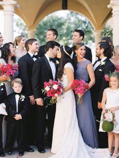 A priceless flower girl reaction! http://www.stylemepretty.com/texas-weddings/horseshoe-bay/2016/01/31/an-artists-elegant-bougainvillea-filled-wedding/ | Photography: Loft Photography - http://www.loftphotography.com/