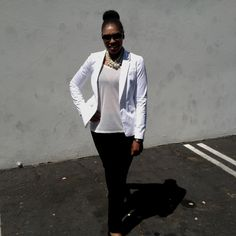 White Blazer, Pearl necklace, sheer white t-shirt, black pants .. Sunday Church Outfit