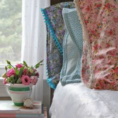 Mismatched Floral Bedding - At Home on the Bay