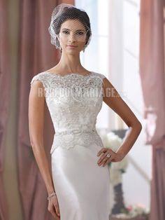 Col haut robe de mariée dentelle satin élastique [#ROBE209975] - robedumariage.com