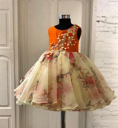 Orange & lemon yellow organza frock with handcrafted flowers and leaves Girls Frock Design, Kids Frocks Design, Baby Frocks Designs, Baby Dress Design, Baby Frocks Party Wear, Baby Girl Party Dresses, Dresses Kids Girl, Kids Outfits, Kids Dress Wear