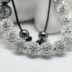White Crystal 8mm Beaded Adjustable Bracelet