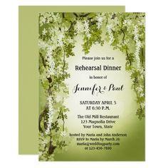Greenery Woodland Rehearsal Dinner Invitation