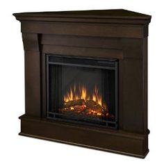 Real Flame Chateau Corner Electric Fireplace Dark Walnut
