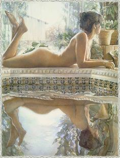 Steve Hanks Reflecting painting for sale, this painting is available as handmade reproduction. Shop for Steve Hanks Reflecting painting and frame at a discount of off. Watercolor Artists, Watercolor Paintings, Watercolours, Oil Paintings, Figurative Kunst, Art Plastique, Beautiful Paintings, Figure Painting, Painting Art