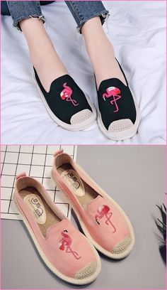 Women's Pink Flamingo Embroidered Casual Shoes - Just Pink About It Flamingo Shoes, Flamingo Outfit, Pink Flamingos, Painted Sneakers, Hand Painted Shoes, Women's Shoes, Socks And Sandals, How To Store Shoes, Shoe Art
