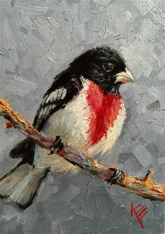 "Daily Paintworks - ""Rose-breasted Grosbeak"" - Original Fine Art for Sale - © Krista Eaton"