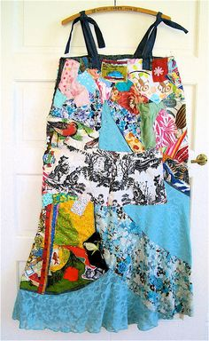 Edgy SALVAGE Wearable Folk  Art COLLAGE Duster Maxi by MyBonny