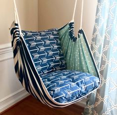 Excited to share this item from my shop: Hammock Chair Swing - Reading Chair - for Kids and Adults!This Hammock Swing Hanging Chair Premier Navy Arrows is just one of the custom, handmade pieces you'll find in our home & living shops. Hanging Swing Chair, Hammock Swing Chair, Swinging Chair, Diy Hammock, Crochet Hammock, Rustic Furniture, Diy Furniture, Luxury Furniture, Furniture Removal