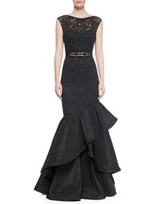 Rickie Freeman for Teri Jon Lace Gown with Tiered Flamenco Skirt, Black - Neiman Marcus