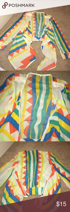 Neon jacket Thin material and beautiful bright colors. Has leather and zipper details Jackets & Coats Blazers