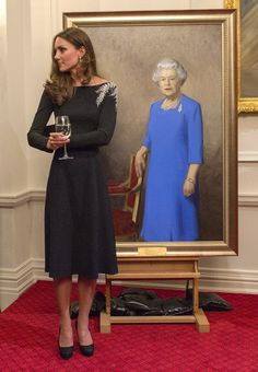 Catherine, Duchess of Cambridge attends an art unveiling of a portrait of Queen Elizabeth II by New Zealand artist Nick Cuthell during Day 4...