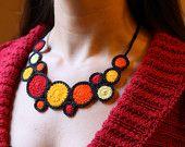 Red crochet necklace: handmade crochet necklace