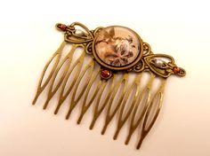 Edler Kolibri Haarkamm in braun bronze Antik Stil von Schmucktruhe