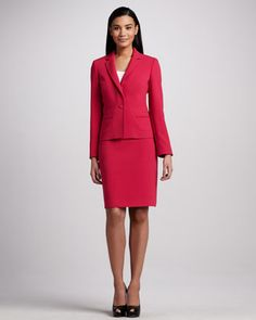 Albert Nipon Notched Collar Skirt Suit - Neiman Marcus #TheArtOfFashion @Henney Hill Marcus